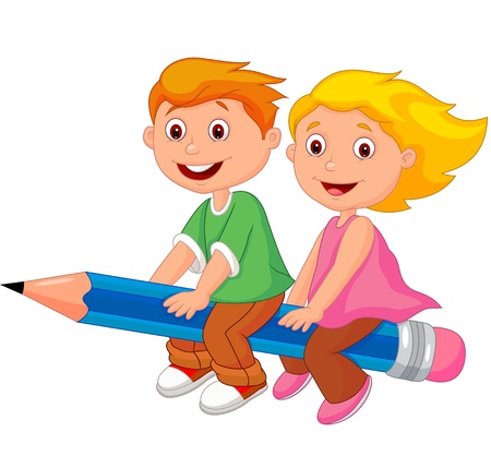 Cartoon boy and girl flying on a pencil  Illustration