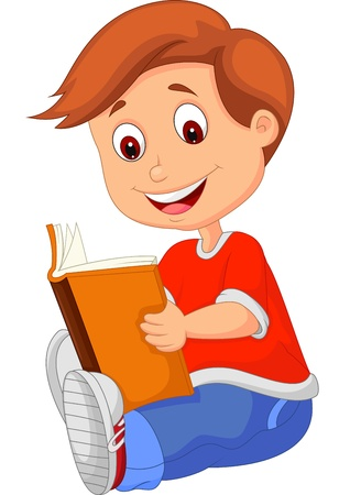 Young boy cartoon reading book  Ilustrace