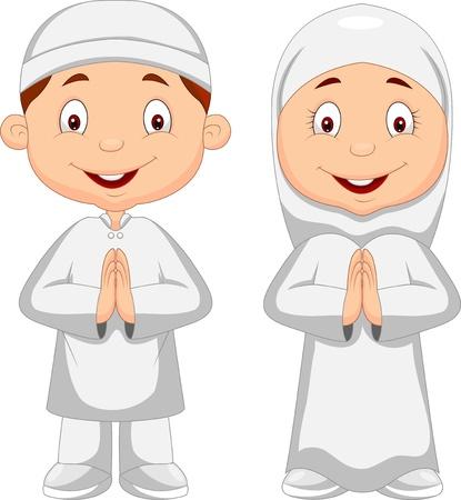 イスラム教徒の子供漫画  イラスト・ベクター素材