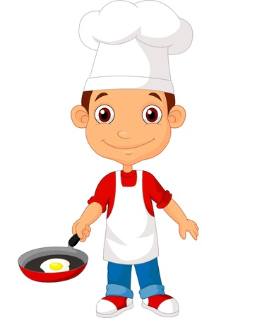 chef caricatura: Poco cocinero de la historieta con la sartén