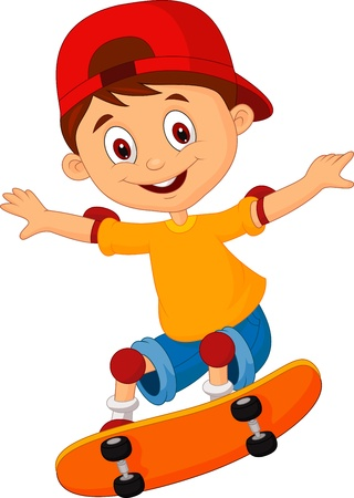 sport cartoon: Little boy cartoon skateboarding