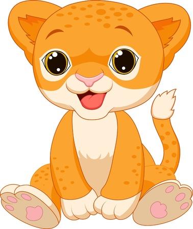 cub: Cute baby lion cartoon  Illustration