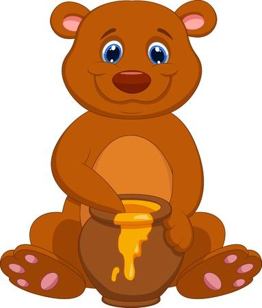 Cute bear cartoon with honey  Vector
