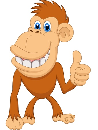 Cute monkey cartoon with thumb up Stock Vector - 20753999
