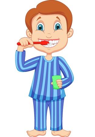 dientes caricatura: Pequeña historieta chico lindo cepillarse los dientes