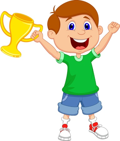 trophy award: Boy holding trofeo de oro