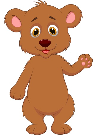 brown bear: Cute baby bear cartoon waving hand