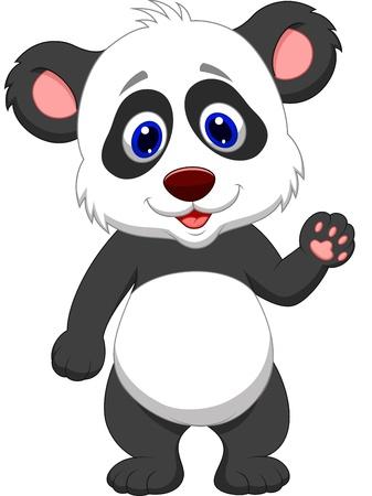 oso panda: Bebé panda de la historieta que agita la mano