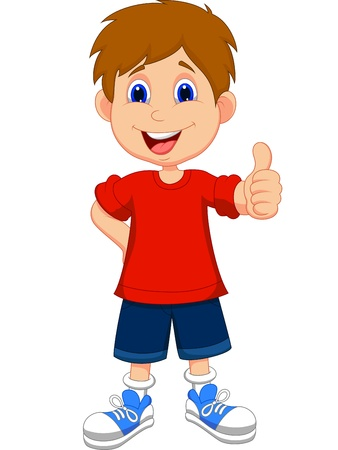 Niño de dibujos animados dando pulgares arriba