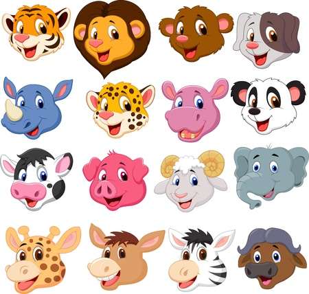 elephant icon: Cartoon animal head collection set
