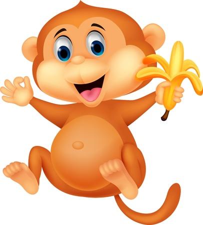 banaan cartoon: Leuke aap cartoon banaan eet