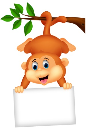 Cute monkey cartoon with blank sign  Ilustracja