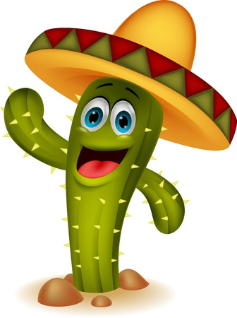 cactus desert: Cute cactus cartoon character