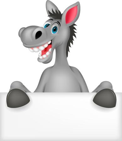 burro: Dibujo animado del burro con la muestra en blanco