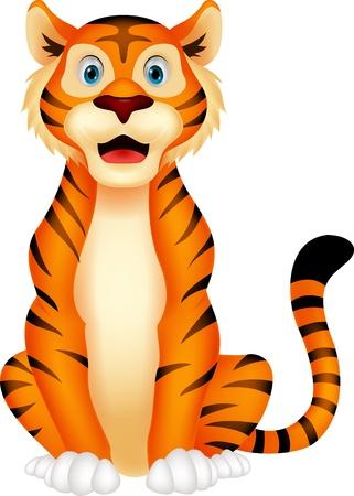 tigre caricatura: Lindo tigre de la historieta que se sienta