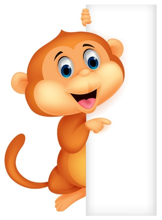 Cute monkey cartoon with blank sign  Vector