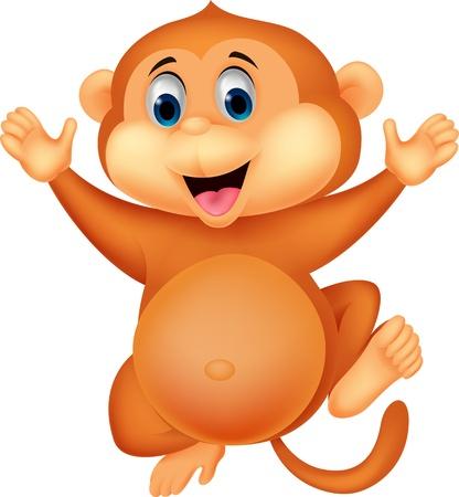 show plant: Cute monkey cartoon  Illustration