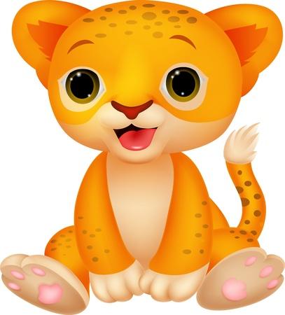 baby animal cartoon: Cute baby lion cartoon  Illustration