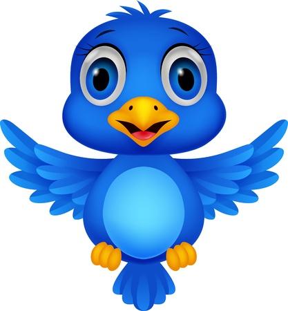 Cute blue bird cartoon Stock Vector - 20754064