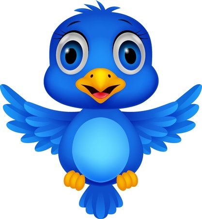 young animal: Cute blue bird cartoon