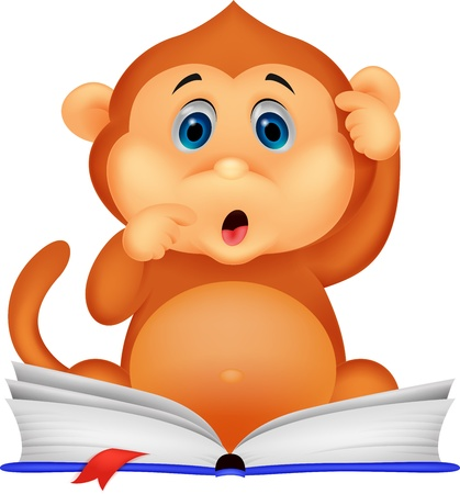 furry tail: Cute monkey cartoon reading book