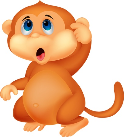 Cute monkey cartoon thinking Stock Vector - 20754066