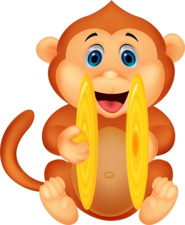 palying: Cute monkey cartoon palying cymbal