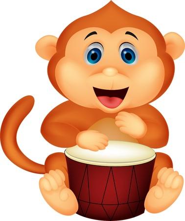 pic: Cute monkey cartoon playing drum  Illustration