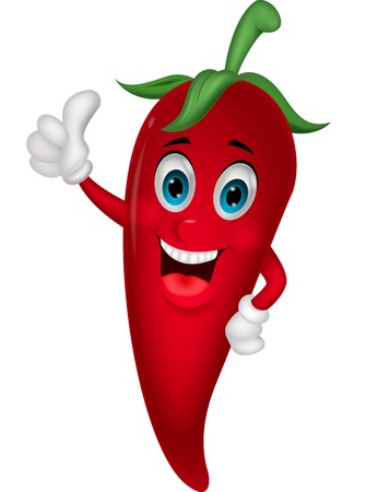 Chili cartoon with thumb up Vector