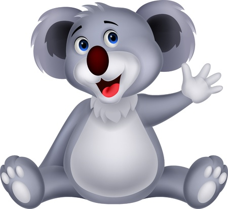 soft toy: Cute koala cartoon waving hand  Illustration