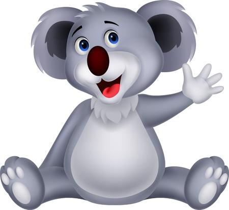 Leuke koala cartoon zwaaien de hand