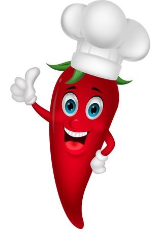 Chef chili cartoon z kciukiem do góry