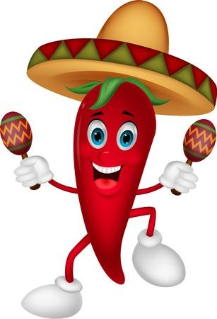 caricatura mexicana: Feliz chili pepper baile de dibujos animados con maracas