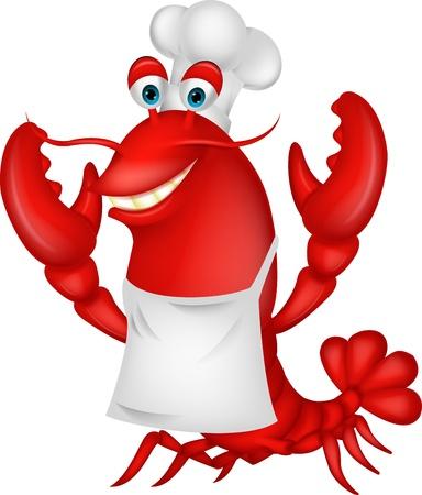 Cute lobster chef cartoon  Çizim