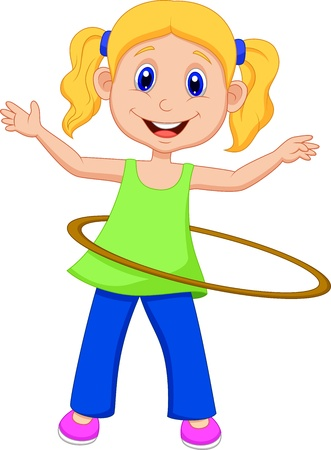 Cute girl cartoon twirling Hooping Vector