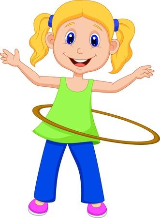 cute girl cartoon: Cute girl cartoon twirling Hooping