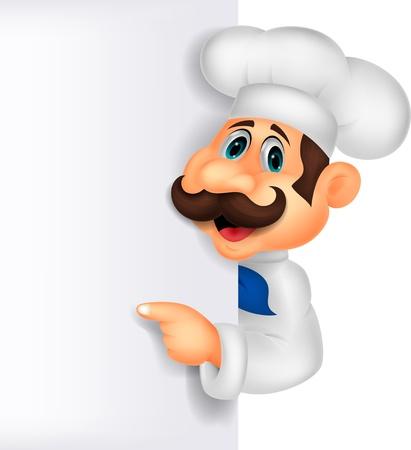 cocinero italiano: Chef de dibujos animados con la muestra en blanco