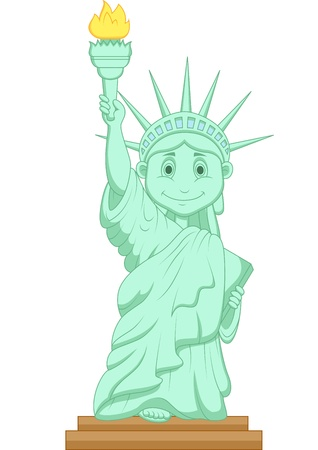 caricature woman: Liberty statue cartoon  Illustration