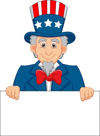 Uncle sam cartoon with blank sign  Illustration
