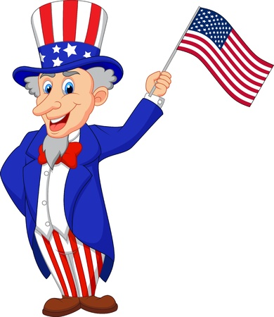 uncle sam: Uncle Sam cartoon holding American flag