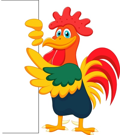 Cute rooster and blank sign