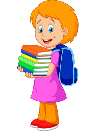 Niña de dibujos animados llevar pila de libros