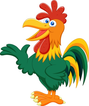 pets: Cute rooster cartoon presenting