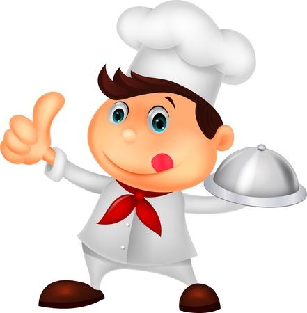 fine cuisine: Chef cartone animato in possesso di un piatto di cibo di metallo e pollice in su Vettoriali