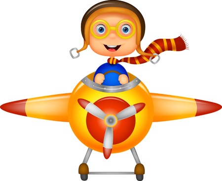 airplane cartoon: Little Boy cartoon Operating a Plane  Illustration