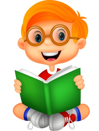 young schoolchild: Young boy cartoon reading book  Illustration