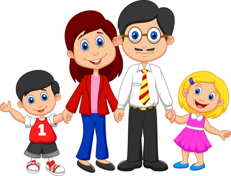 family isolated: Happy family cartoon