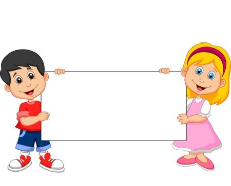 cartoon jongen: Cartoon jongen en meisje bedrijf blanco teken Stock Illustratie