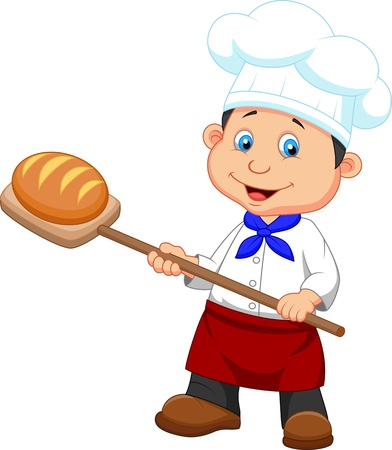 Illustration of cartoon a baker with bread