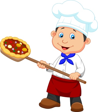 Illustration of cartoon a baker with Pizza